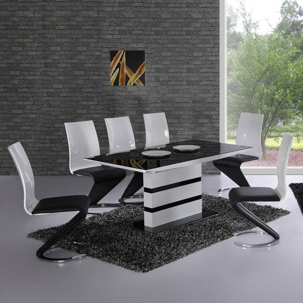 Black And White Dining Room Set Dining Room Set Black Glass