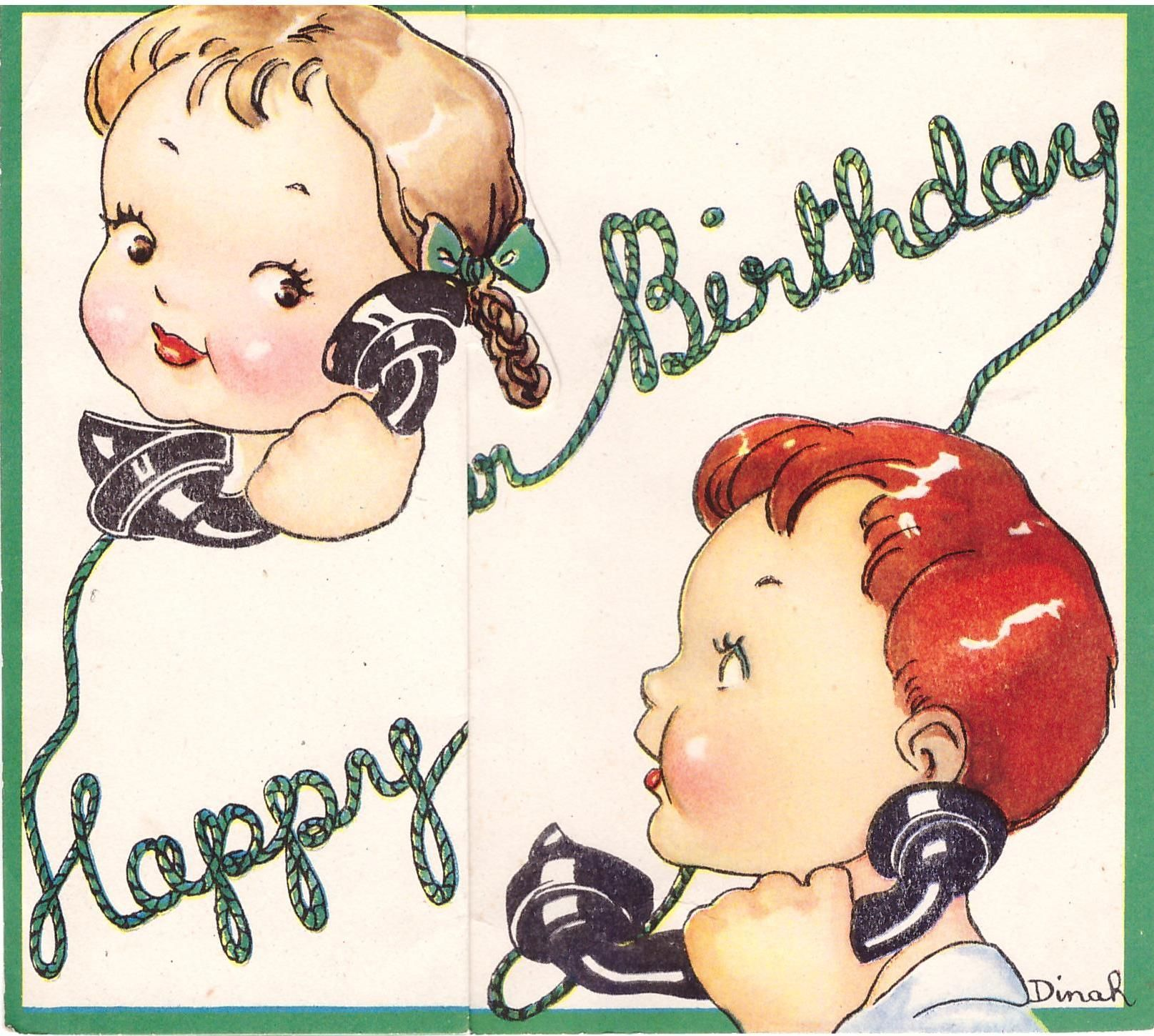 HAPPY BIRTHDAY in green telephone cord with a child on either end