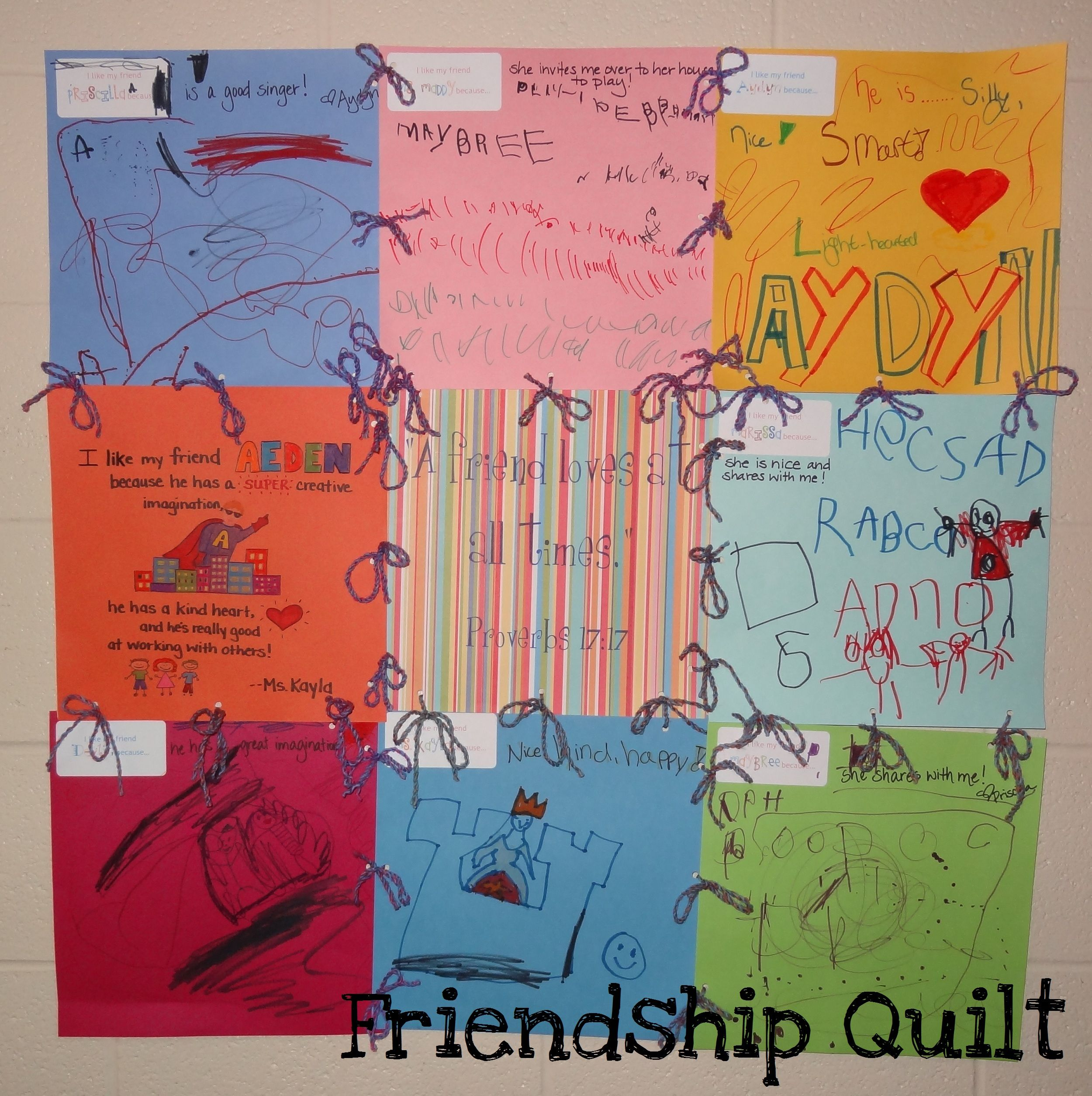 Classroom Ideas And Activities : Friendship quilt great for lessons on or letter