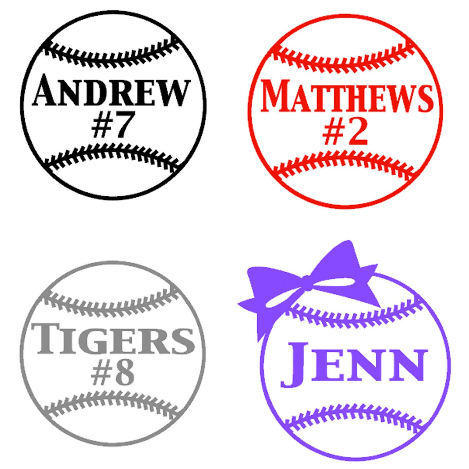 Personalized Softball Decal I Want The One With The Bow - Custom car decals baseball