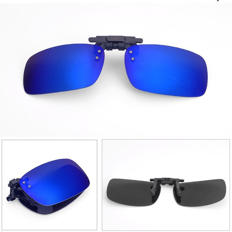 399b2dbf1a8 Fold Polarized Clip on Sunglasses clip on glasses square Polaroid Lens Men  Women mirror clip Sun Glasses Night Vision Driving
