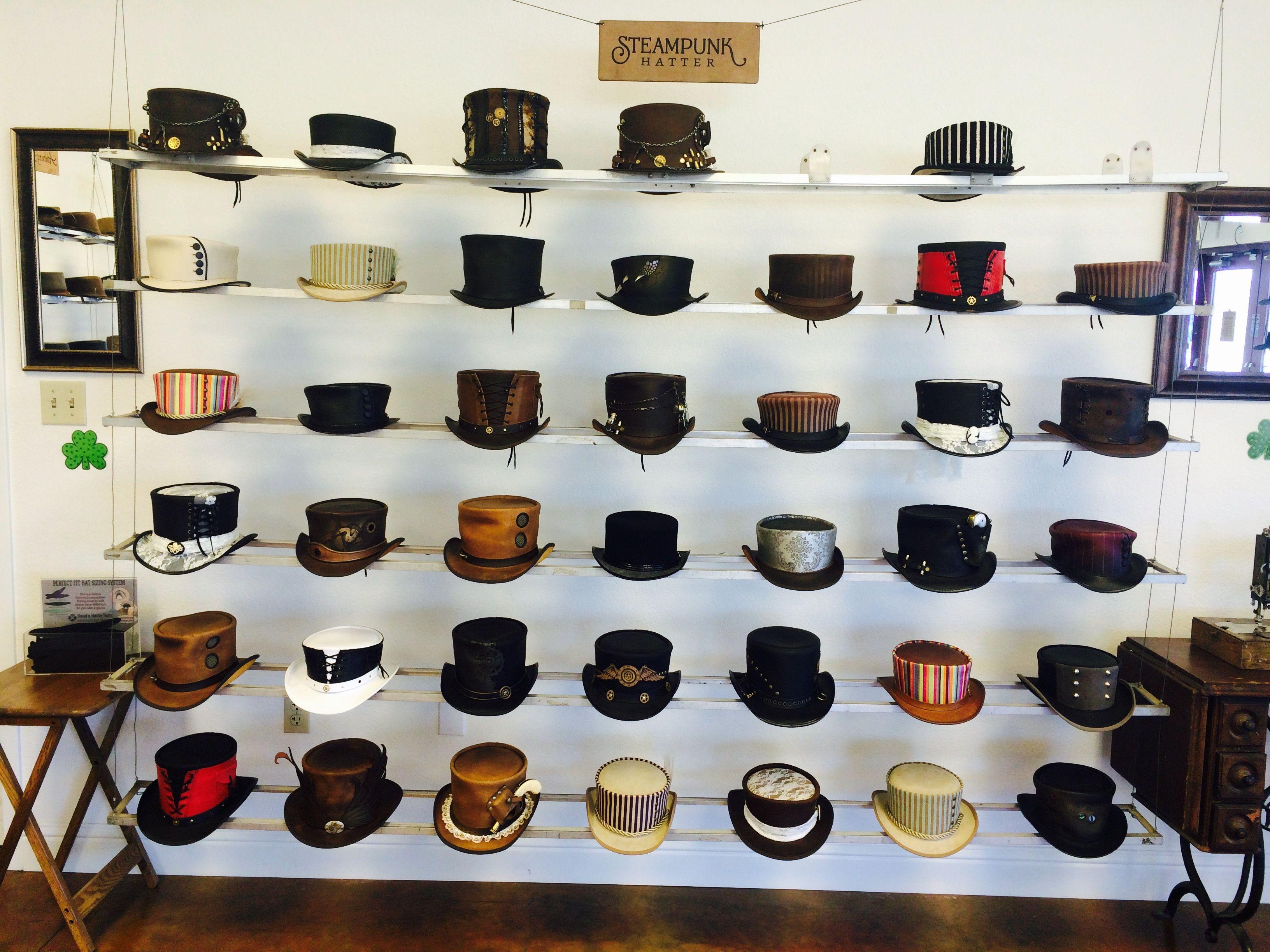 Steampunk Hatter at The Hat Hangar! #AmericanHatMakers #1800NiceHat #smallbusiness #marketing #success #leatherhats #wholesale #hatmanufacturers #branding