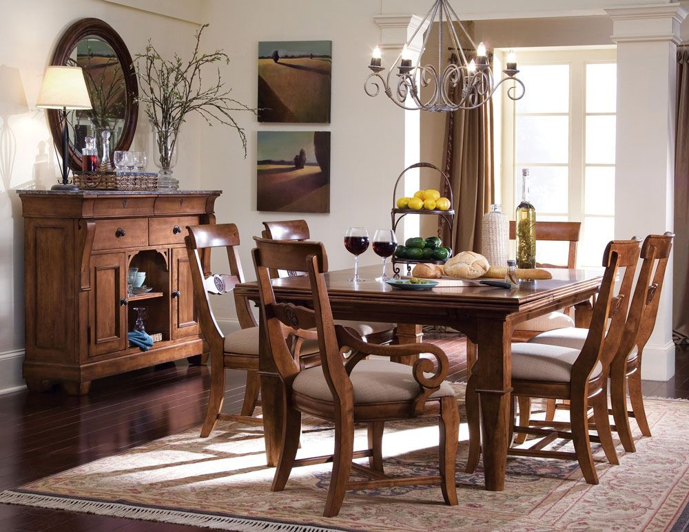 Kincaid Tuscano Solid Wood Refectory Leg Table Dining Set Rustic