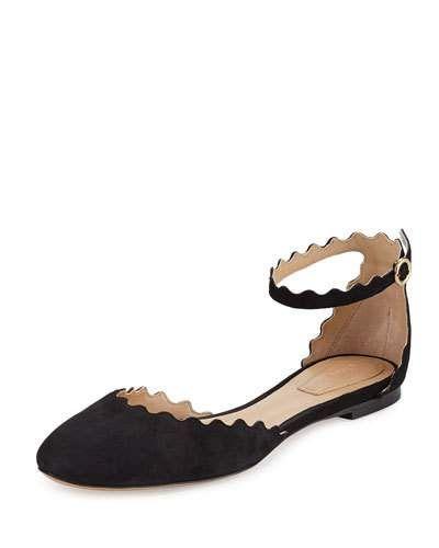 f73cb3df1 CHLOÉ Lauren Scalloped Suede Ankle-Strap Flat, Black. #chloé #shoes #flats