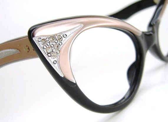 Vintage Pink Cat eye Glasses Sunglasses Eyeglasses Ornate Rhinestone