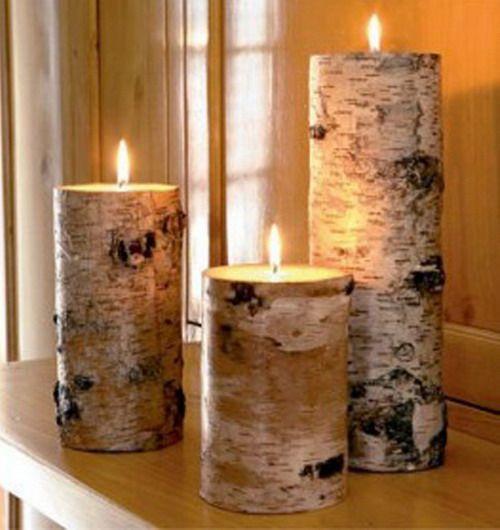 Innenausstattung mit Baumrinde fantastische Kerze Kommode