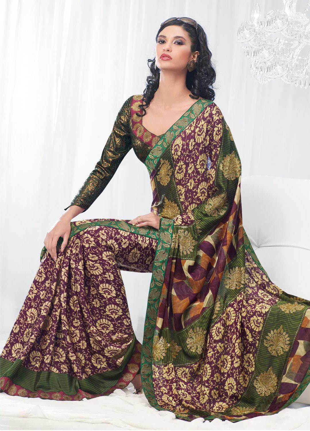 Purple Green Beige Saree