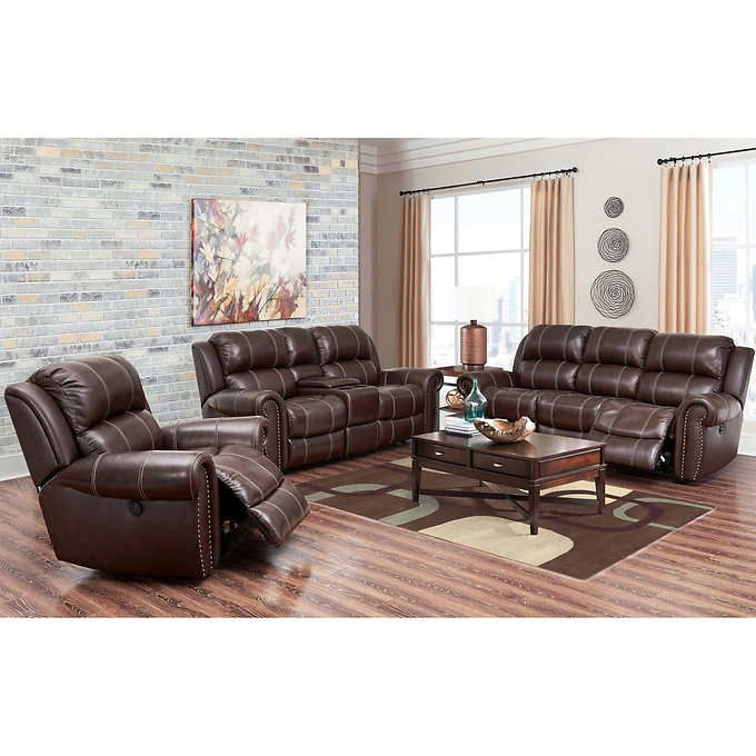 Channing 3 Piece Top Grain Leather Power Reclining Living Room Set Sofa Set Reclining Sofa Power Reclining Sofa