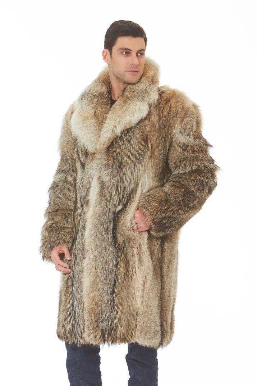 Mens Coyote Fur Coat Jacket Notch Collar | eBay | Pelzmantel