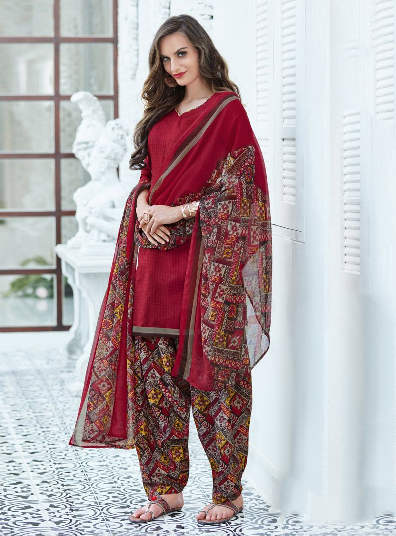4cde3c79f7 Buy Red Cotton Punjabi Suit 143236 online at lowest price from huge  collection of salwar kameez at Indianclothstore.com.