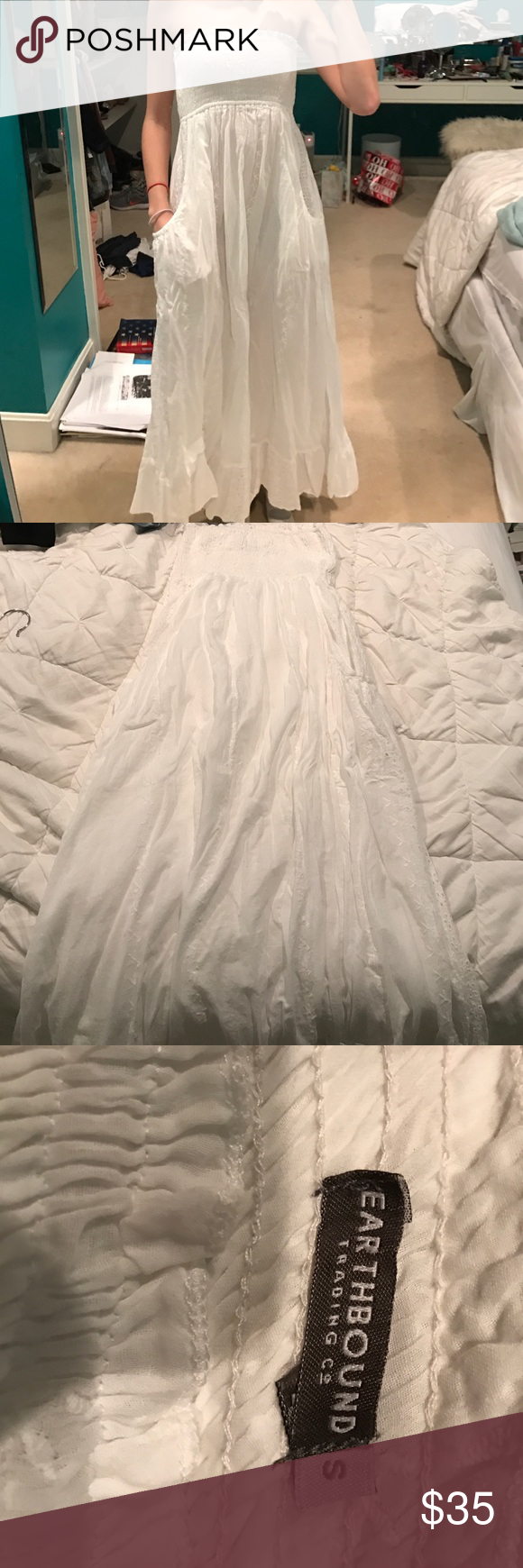 NWOT white lad maxi dress Brand new never been worn white lace maxi dress with pockets and lace trim and elastic at the top in perfect condition earthbound trading co Dresses Maxi