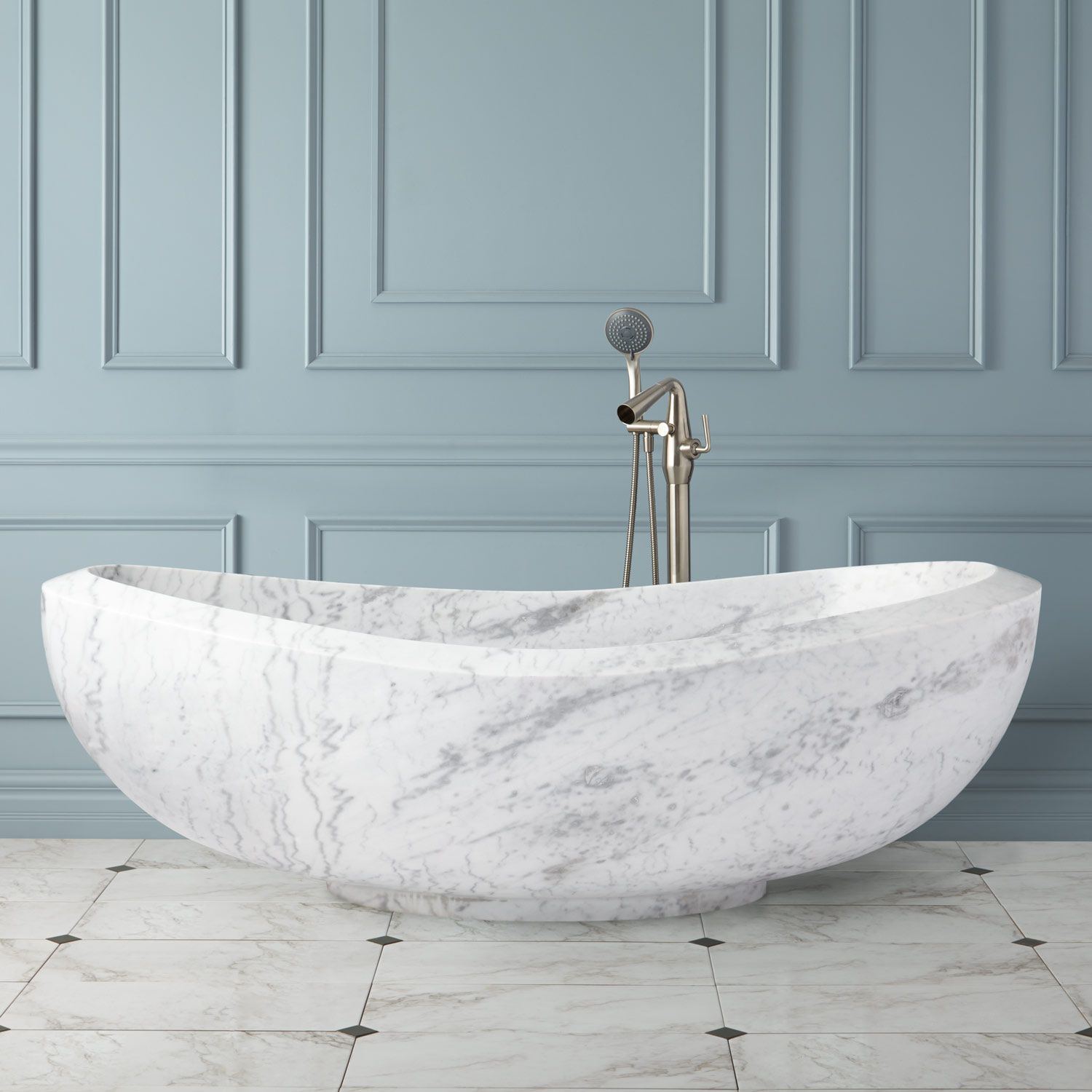 72 Bessboro Polished Moon White Marble Tub Products