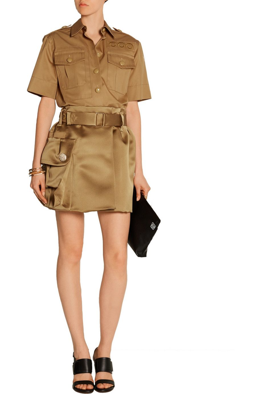 Marc Jacobs Belted silk satin twill mini skirt outfit, I'm like, VERY OBSESSED with this.