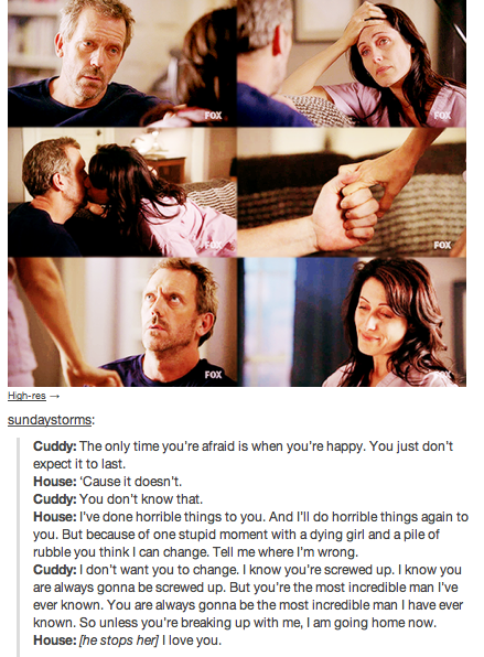 I'd certainly love Cuddy endlessly, but I can't forgive her for leaving House.