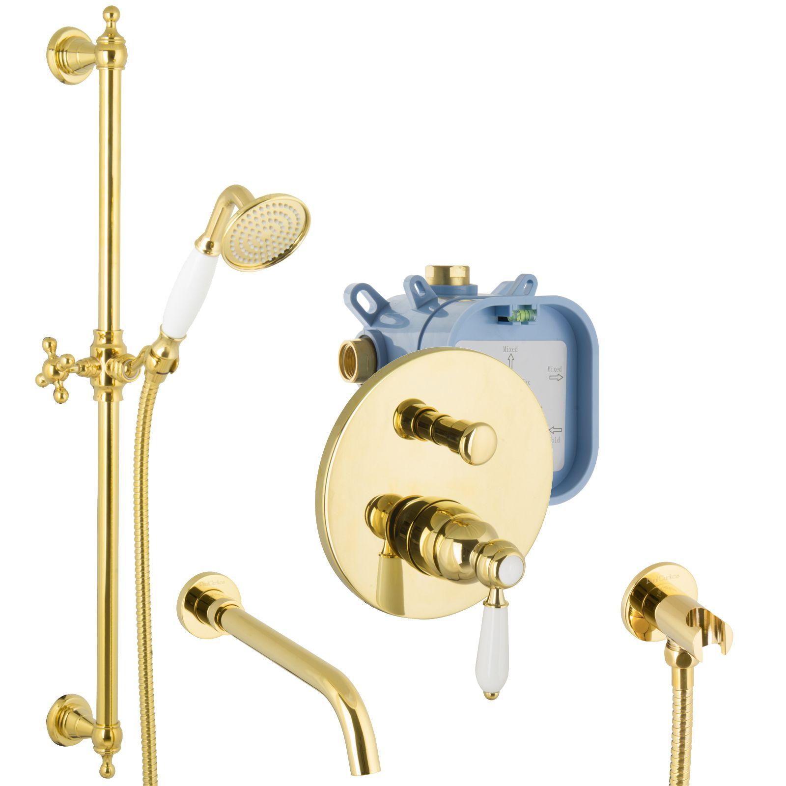 Unterputz Set Gold Badewannen Armatur Mit Brausestange Up Armatur