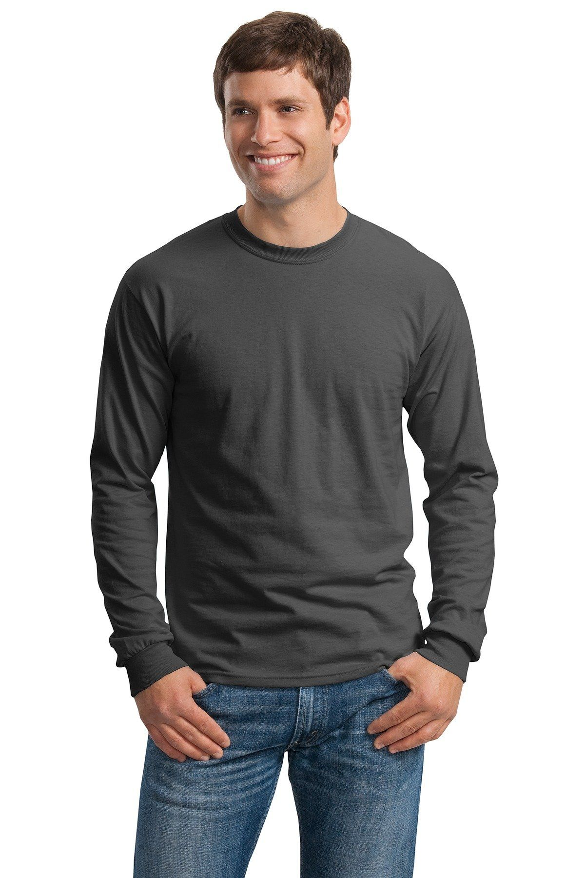 Cotton long sleeve tee shirt color charcoal size xxlarge