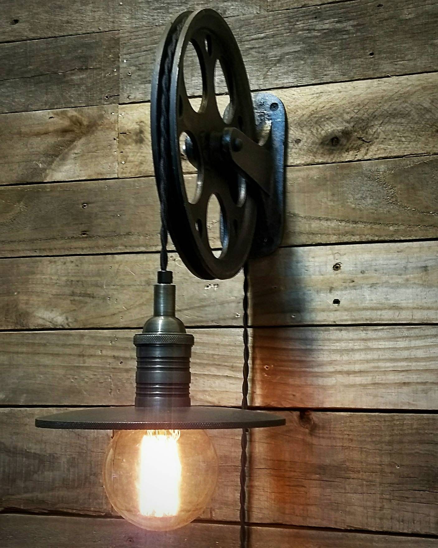Pulley Wall Light Pulley With Vintage Style Industrial Farmhouse Light In 2020 Pulley Wall Light Wall Lights Insulator Lights