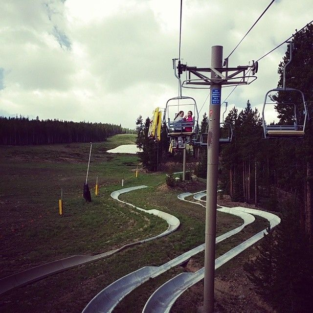 Riding the chair lift to the top of the alpine slide!,  #alpineslide #gobreck #peak8 #peak8funpark