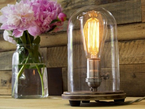 Pink Peonies + Bell Jar Lighting From Southern Lights Electric, Table Lamp.