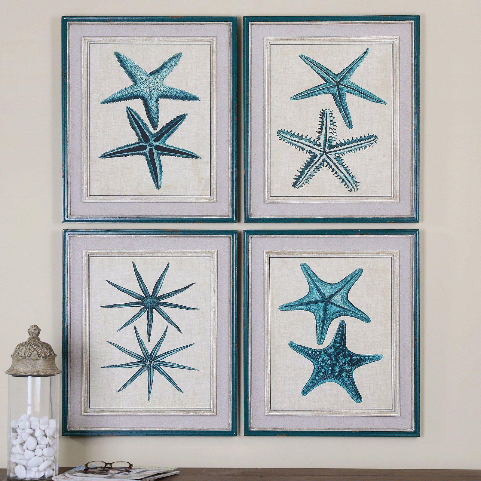 Uttermost Coastal Starfish Framed Art  Set Of 4