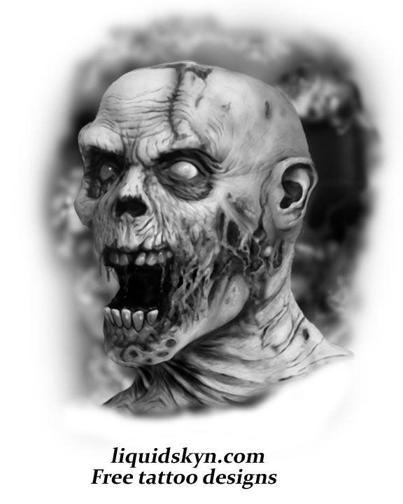 screaming zombie skull tattoo