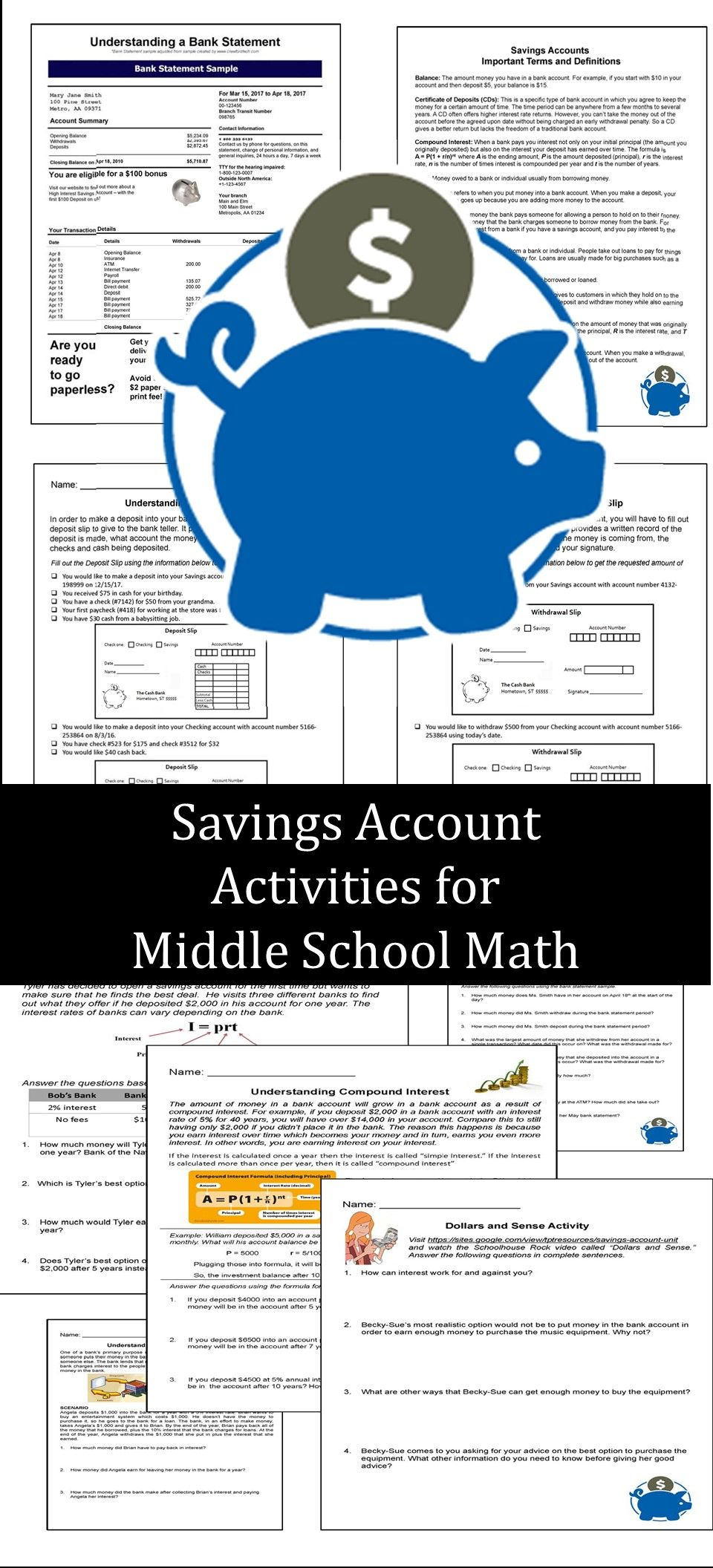 Consumer Math - Savings Account Activities | Bank statement ...