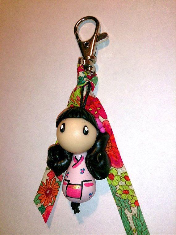 Grigri kokeshi - Liberty #polymerclay #fimo #littlemandarine #kokeshi #keychain