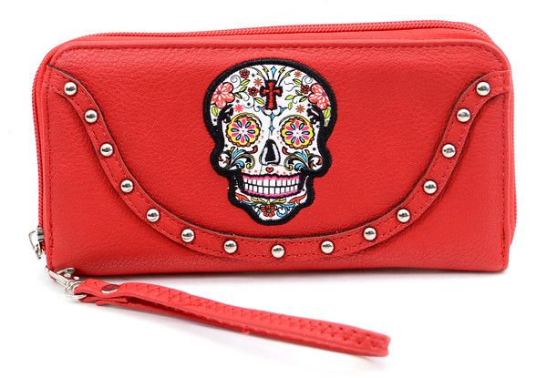 Red Sugar Skull Embroidered Studded Day of the Dead Zipper Wristlet Wallet