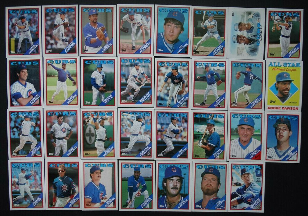 1988 topps chicago cubs team set of 41 baseball cards with
