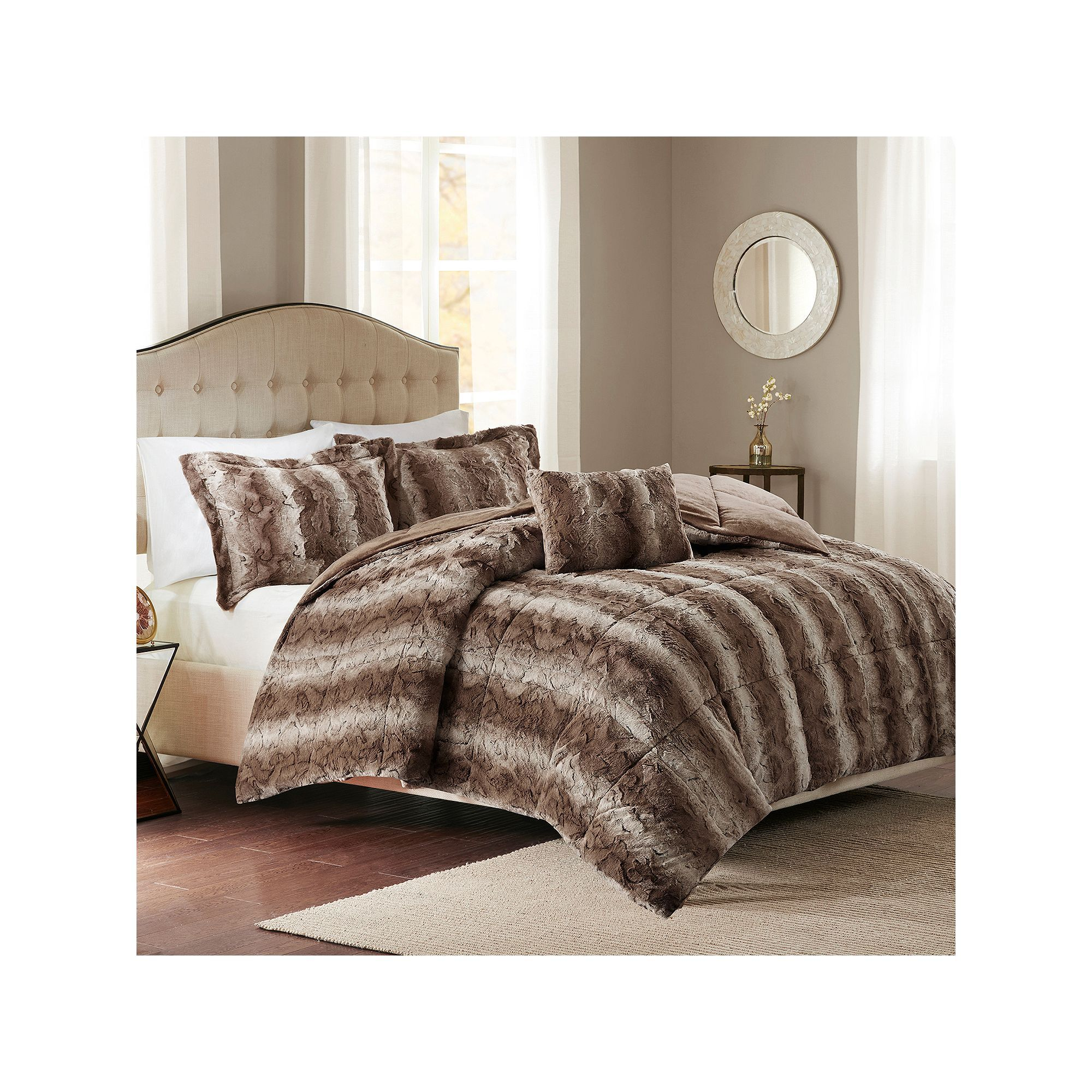 free queen piece fur chic product comforter caimani faux beige bedding bath home overstock today shipping set