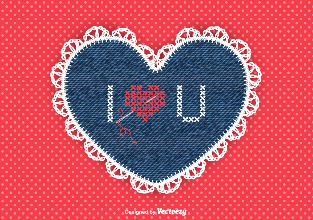 Vector heart with stitched lace border, denim texture