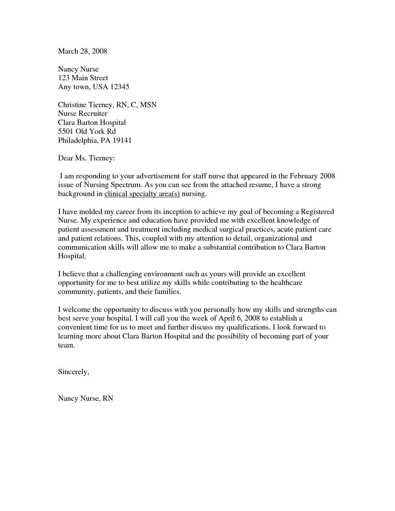 nursing cover letter new graduate examples