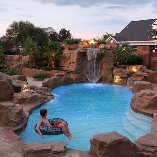 Just Add Water Pool Waterfall Backyard Pool Pool Landscaping