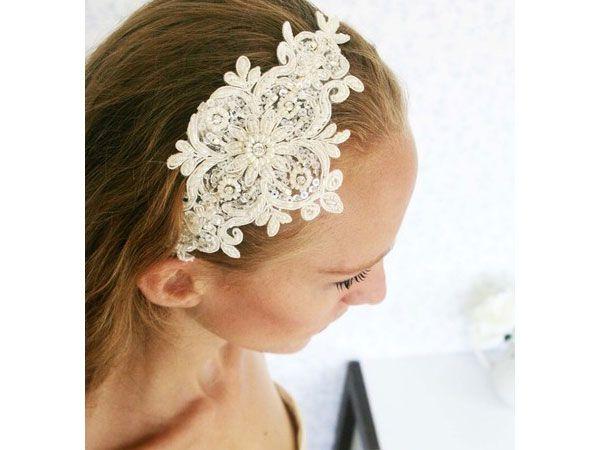 Tocado para novia de diadema en encaje manualidadez para - Diademas de encaje ...