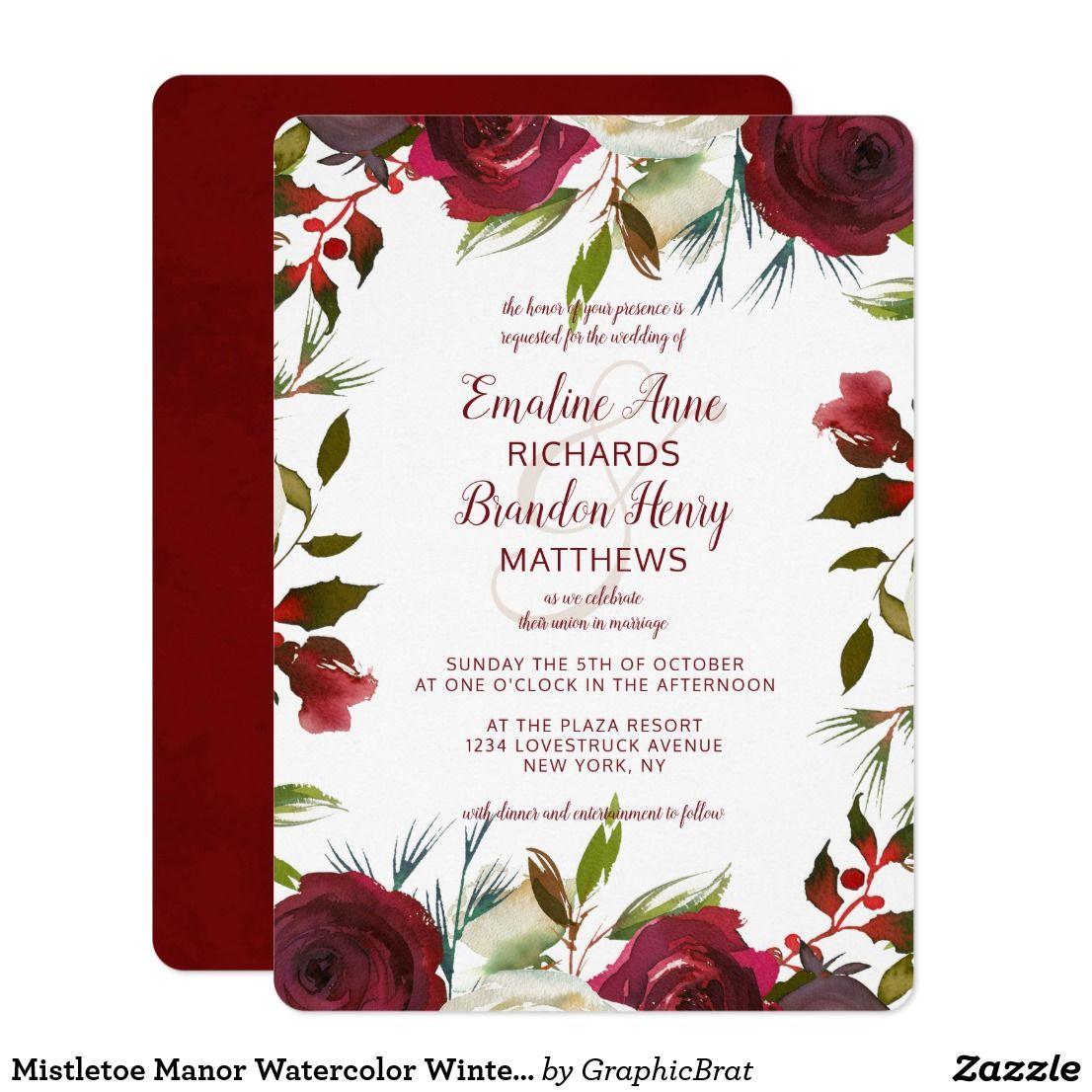 Mistletoe Manor Watercolor Winter Border Wedding Invitation   Winter ...