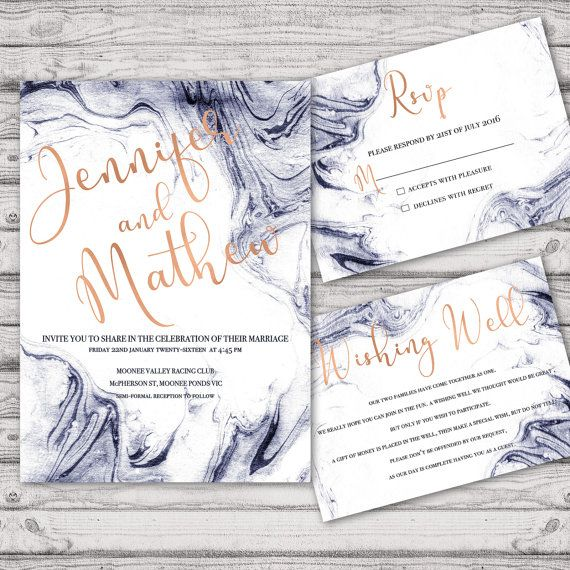Marble Wedding Invitation Suite   Print At Home Files Or Printed Invitations    Marble Navy Rose