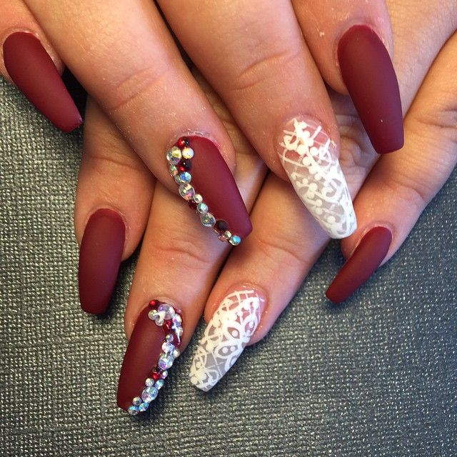 Matte Red Coffin Nails With Lace Design Lace Nails Coffin Nails Designs Prom Nails