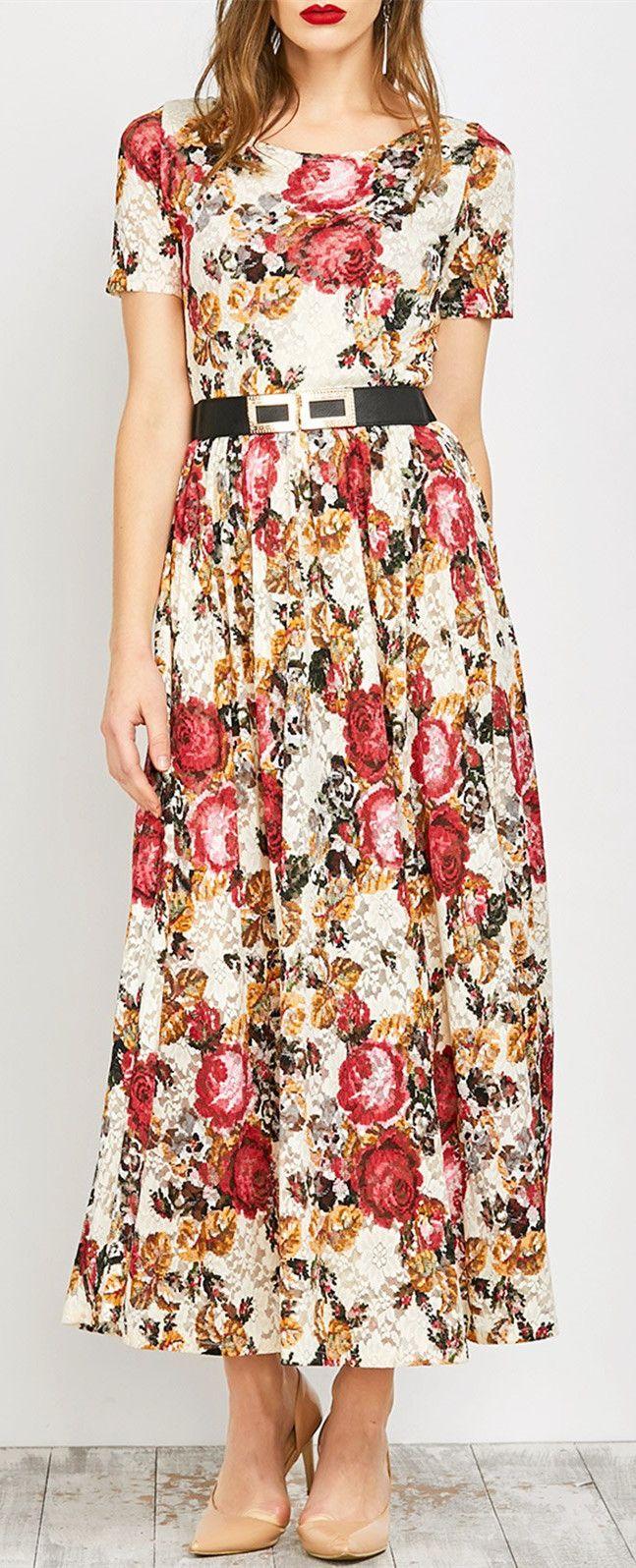 Bohemian lace floral print maxi dress floral print maxi dress