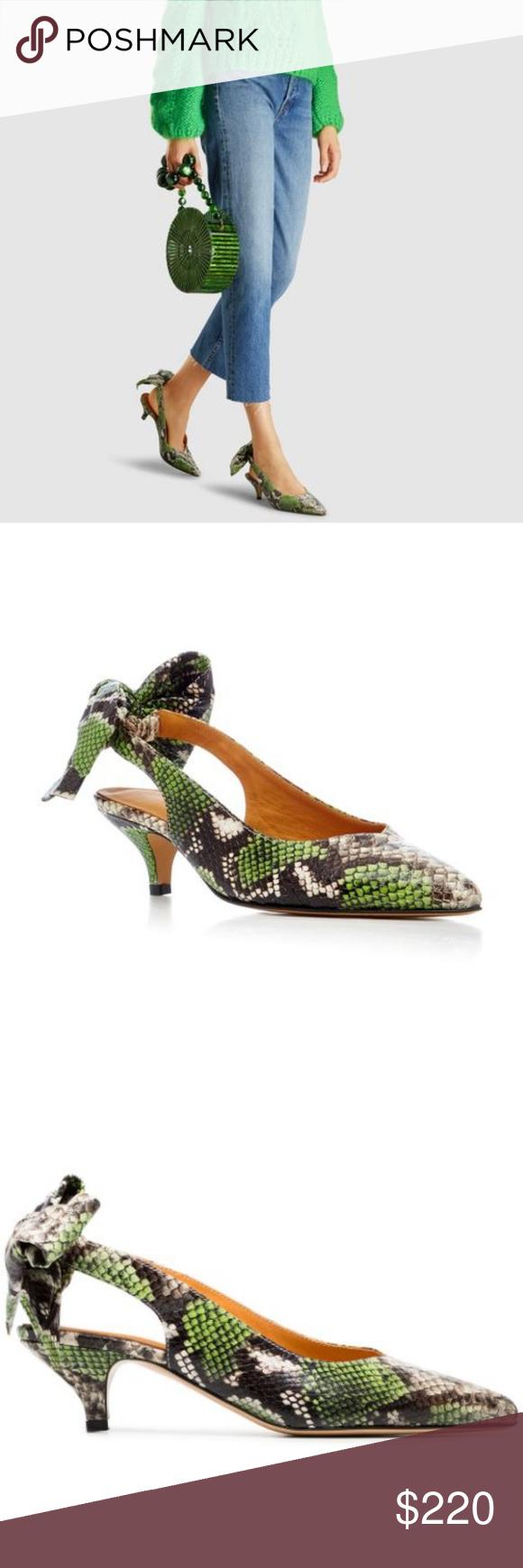 Ganni Leather Green Sabine 50 Snakeskin Pumps Pumps Ganni Snake Skin