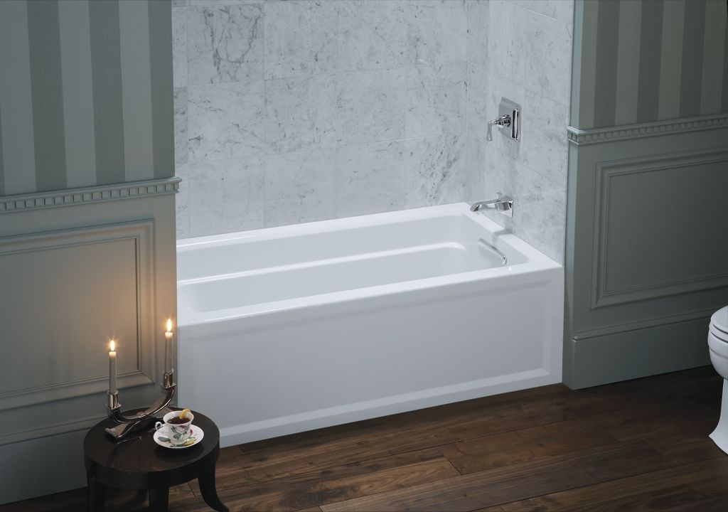 The Kohler Archer Soaking Tub Features Integral Armrests And Lumbar Support With A Com Guest Bathroom Renovation Bathtubs For Small Bathrooms Soaking Bathtubs