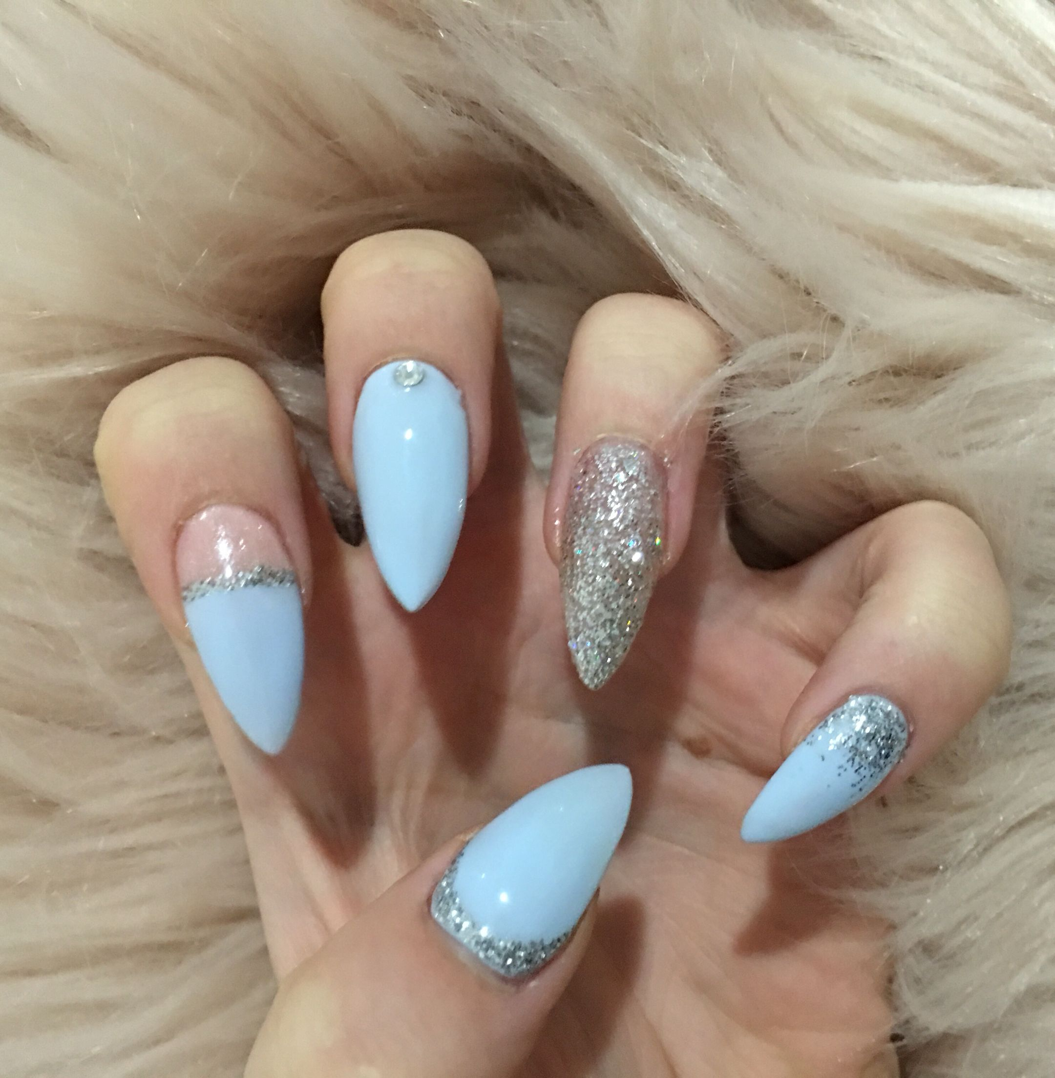 Baby Blue Almond Nails Almond Nails Designs Nails Nail Designs Glitter