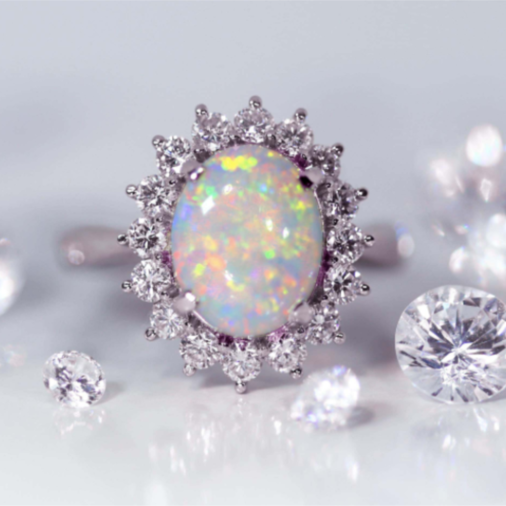 October birthstone The Opal engagement ring