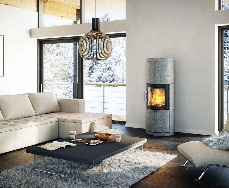 chimenea moderna sofas blancas salon mesa ideas