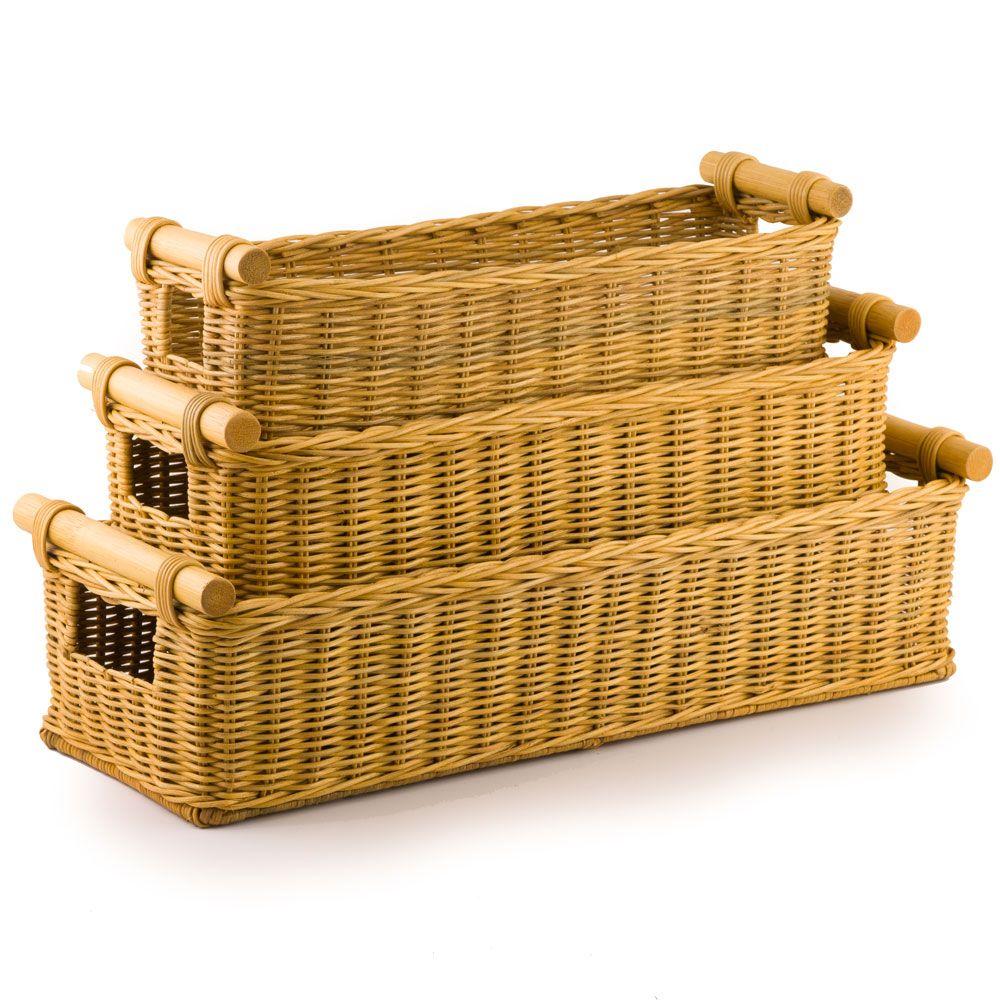 Etonnant Long Narrow Pole Handle Basket In Toasted Oat, 3 Sizes Shown   Large Size  Would