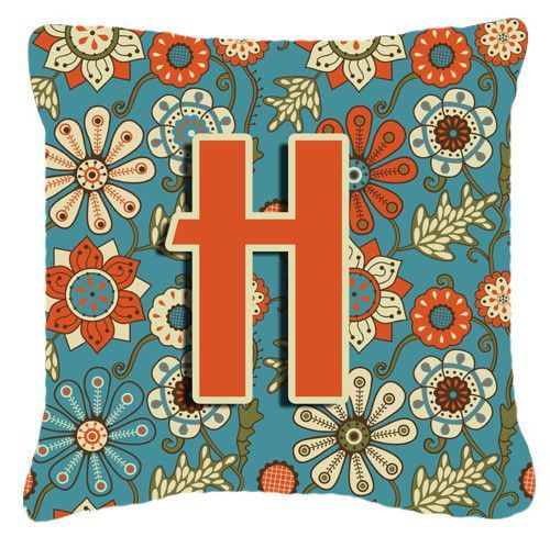 Letter H Flowers Retro Blue Canvas Fabric Decorative Pillow CJ2012-HPW1818