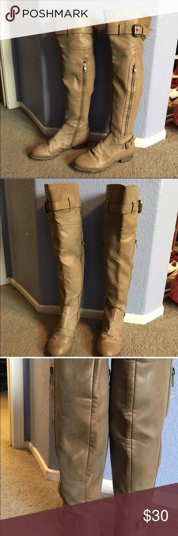 Bakers over the knee boot These are stone gray in color (grayish tan). Preloved Bakers over the knee boots. Decorative zipper detailing on the outside and buckle on top. Zipper closure is on the inside. In good condition, but there are a couple scuff marks on the back of the left boot. Color looks great with just about anything! Perfect for that fall, winter, or early spring outfit  true to size Bakers Shoes Over the Knee Boots