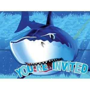 Amazon.com: Creative Converting Shark Splash Birthday Party Invitations, 8 Count: Toys & Games