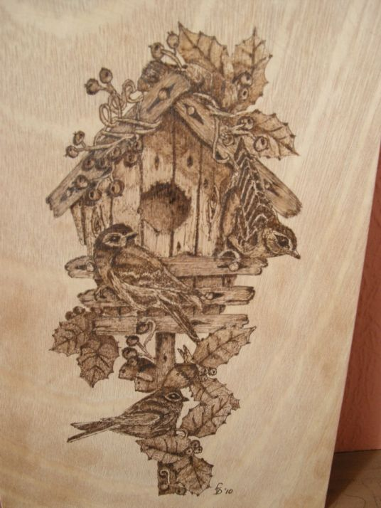 winter birdhouse wood art pyrogrophy woodburning pyrography woodburning pinterest. Black Bedroom Furniture Sets. Home Design Ideas