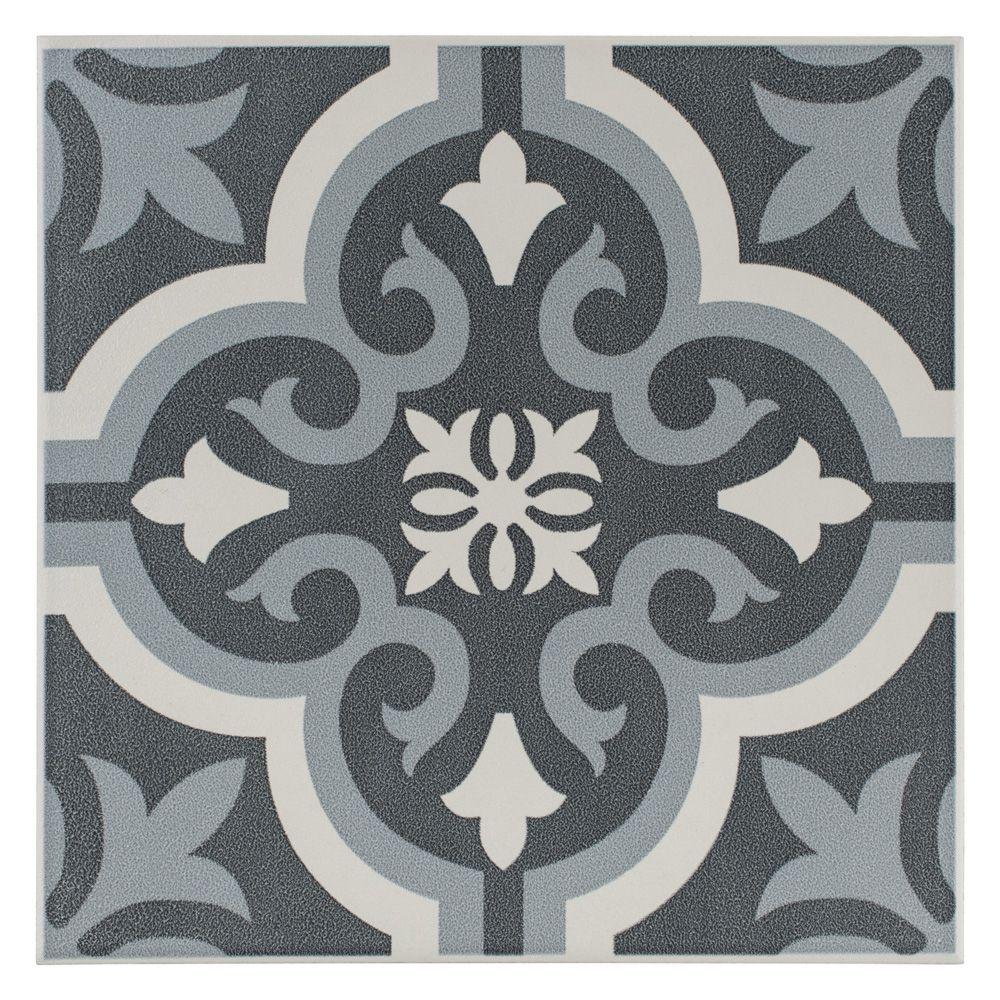 Braga Black 7 3 4 Inch X 7 3 4 Inch Ceramic Floor And Wall Tile