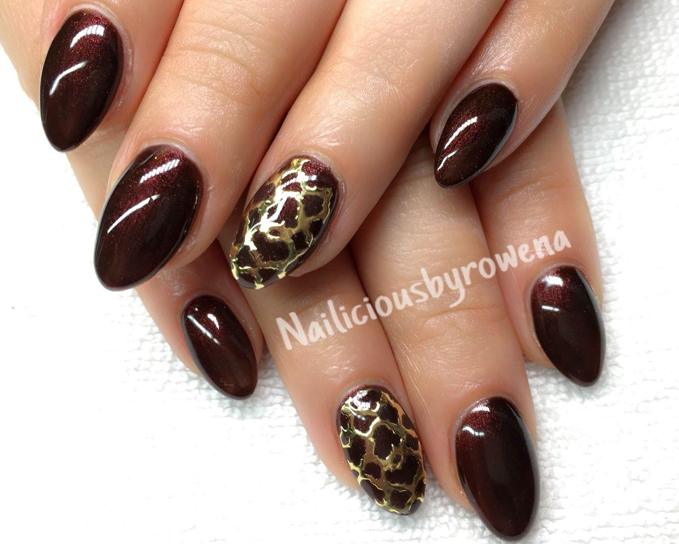 Brown nails, almond shape, filigree, fashionnails | Beauty ...